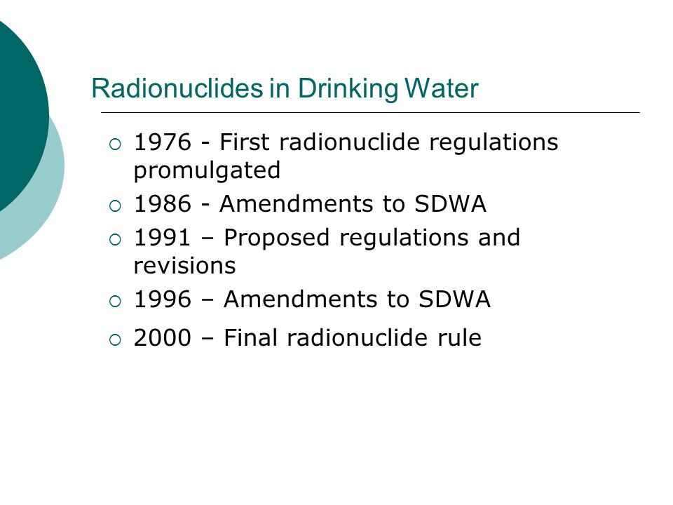 Radionuclides in Drinking Water