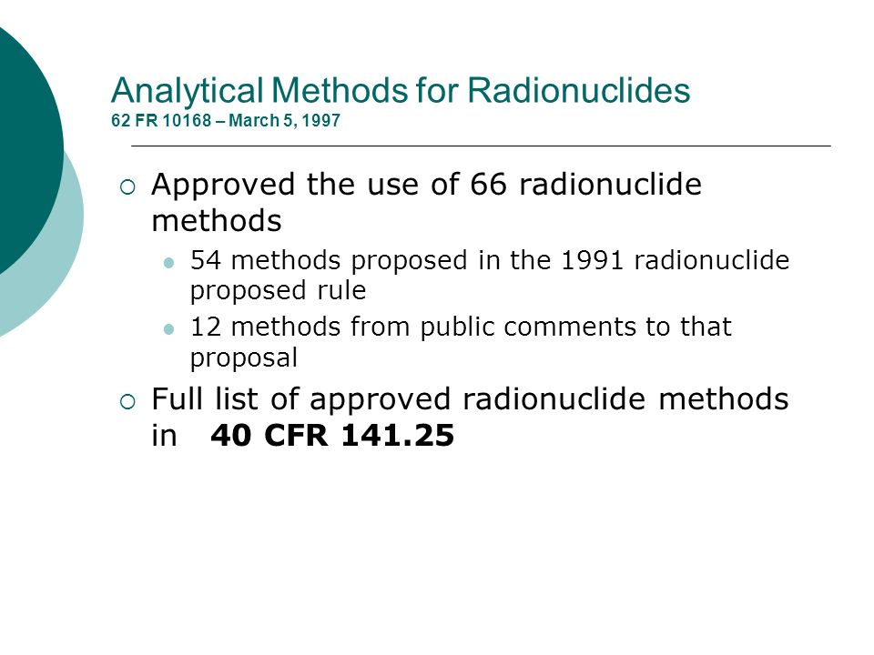 Analytical Methods for Radionuclides 62 FR 10168 – March 5, 1997