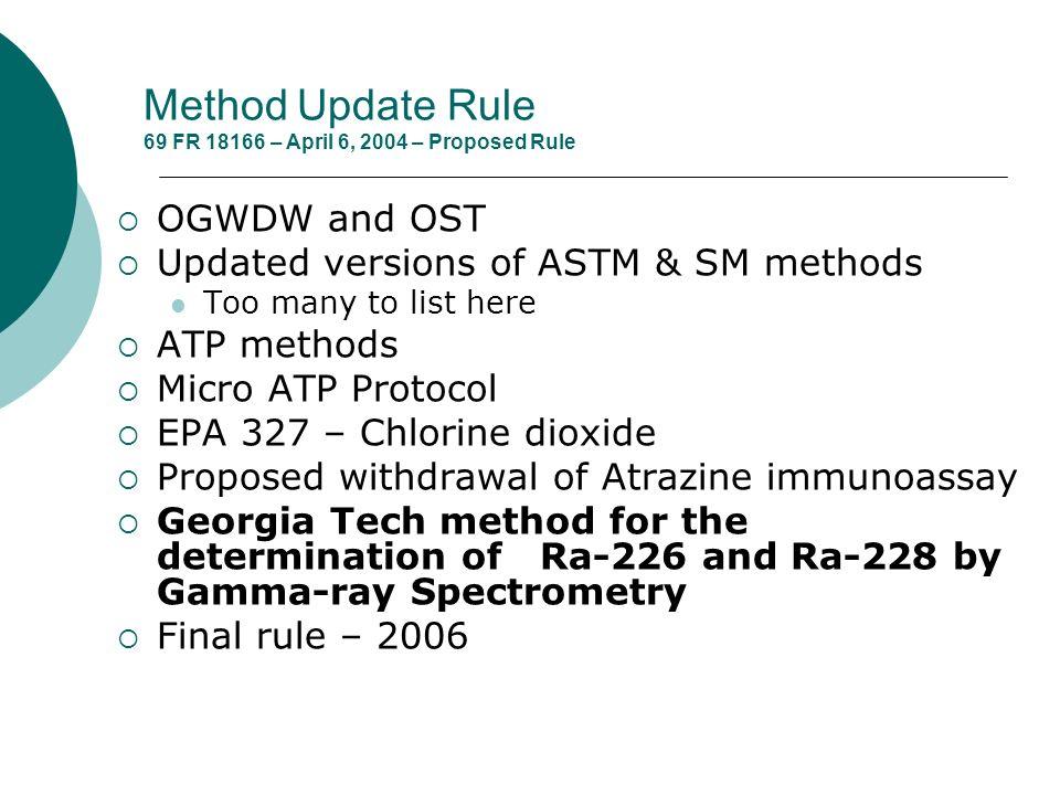Method Update Rule 69 FR 18166 – April 6, 2004 – Proposed Rule