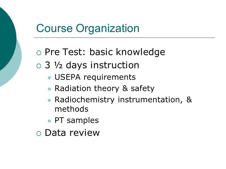 Course Organization Pre Test: basic knowledge 3 ½ days instruction