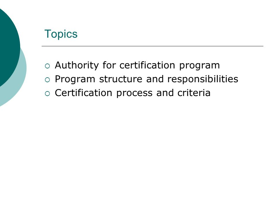 Topics Authority for certification program