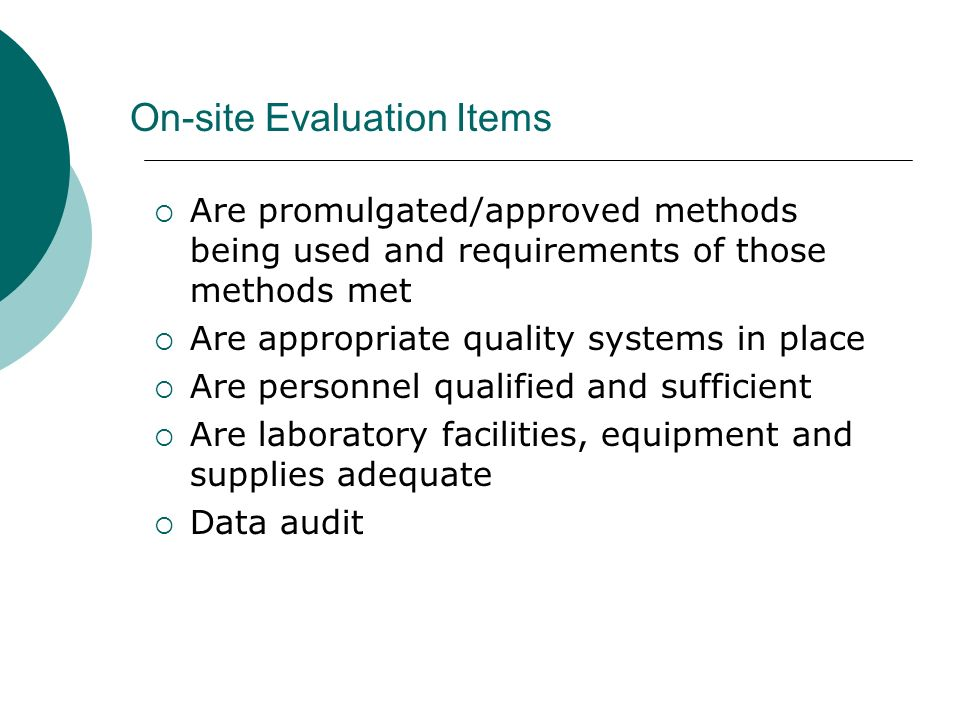 On-site Evaluation Items