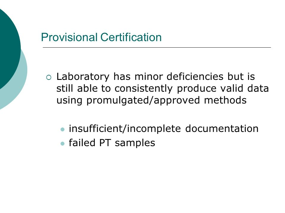 Provisional Certification