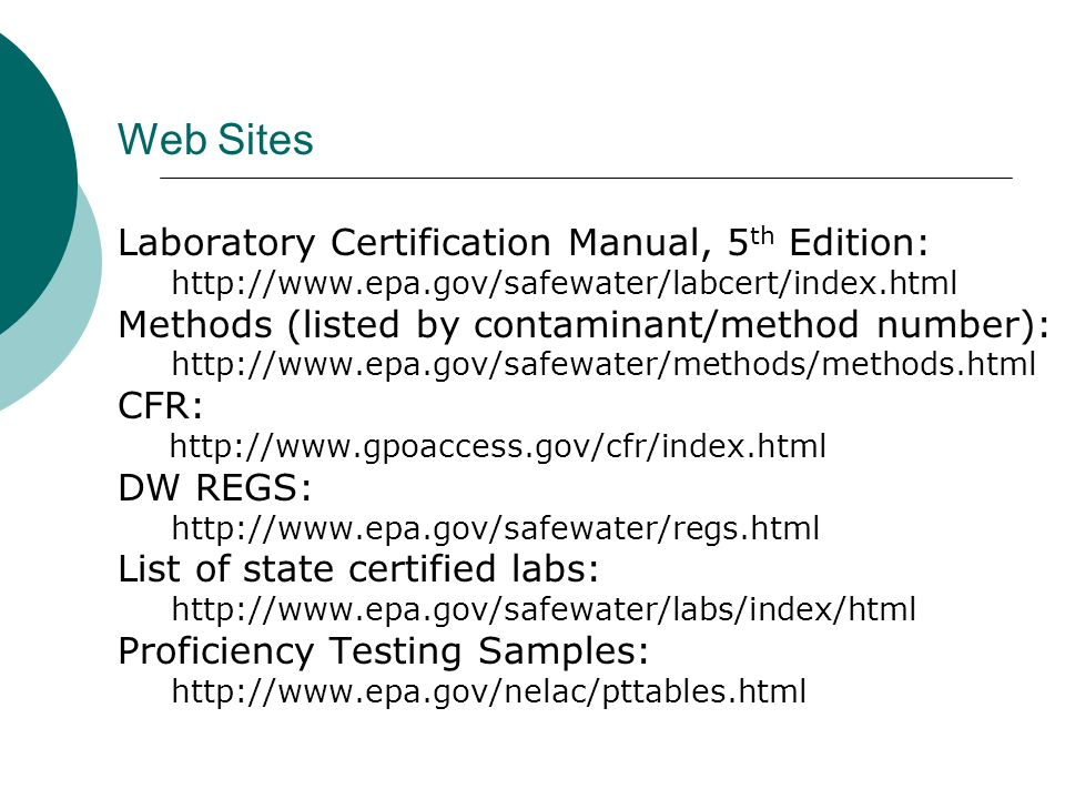 Web Sites Laboratory Certification Manual, 5th Edition: