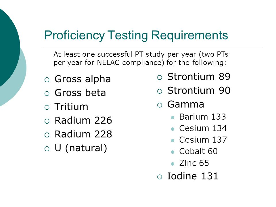 Proficiency Testing Requirements