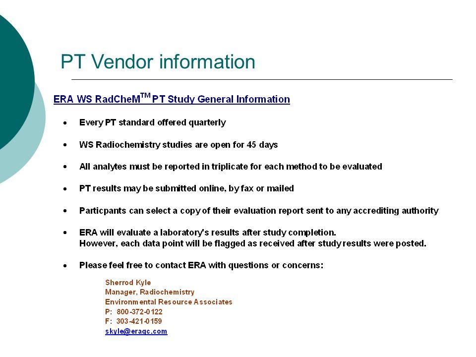 PT Vendor information