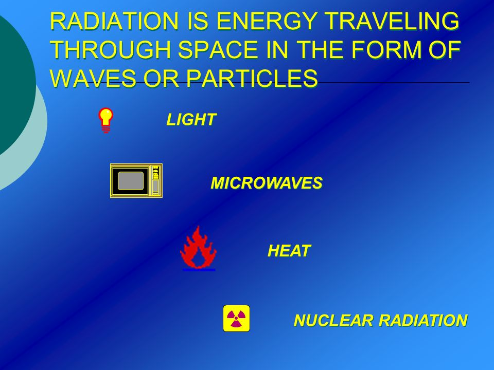 RADIATION IS ENERGY TRAVELING THROUGH SPACE IN THE FORM OF WAVES OR PARTICLES