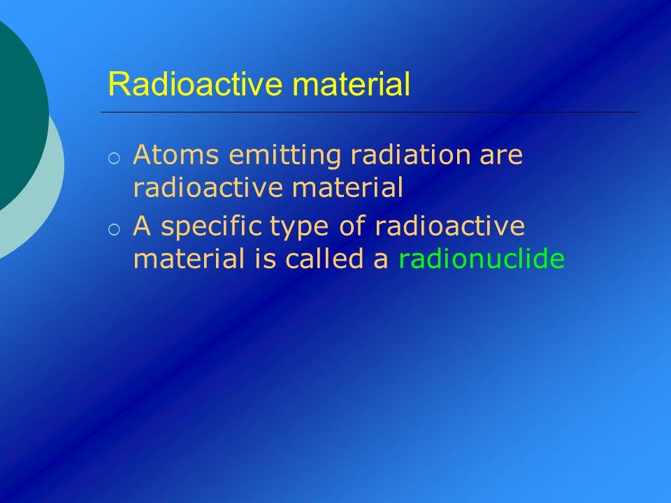 Radioactive material Atoms emitting radiation are radioactive material