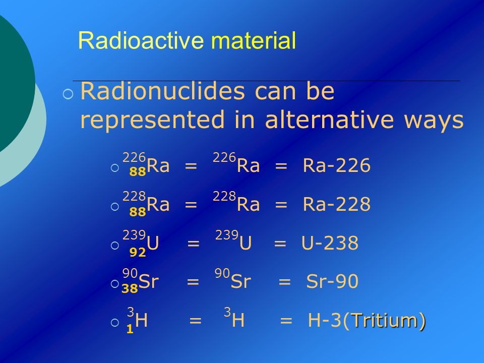 Radionuclides can be represented in alternative ways