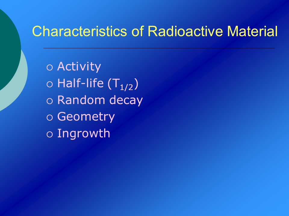 Characteristics of Radioactive Material