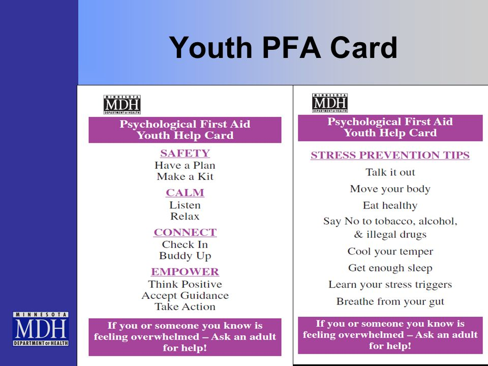 Youth PFA Card To the Trainer: Hand out the Youth PFA cards