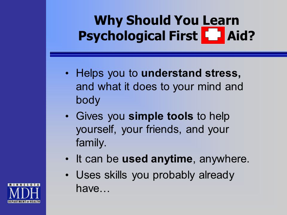 Why Should You Learn Psychological First Aid