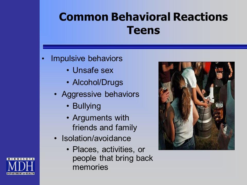 Common Behavioral Reactions Teens