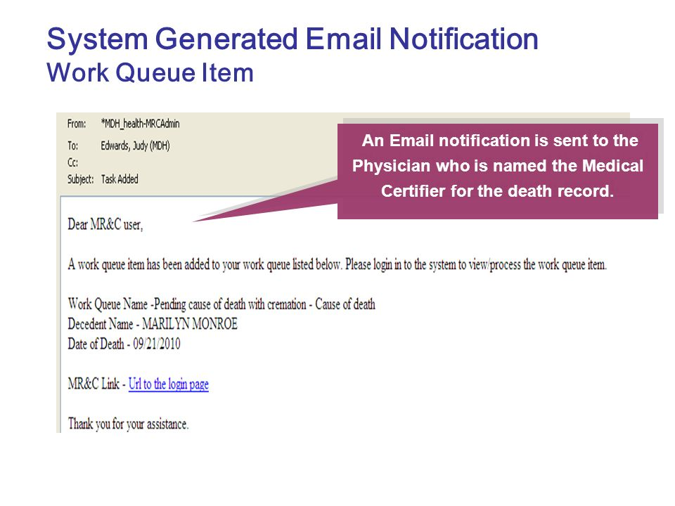 System Generated Email Notification