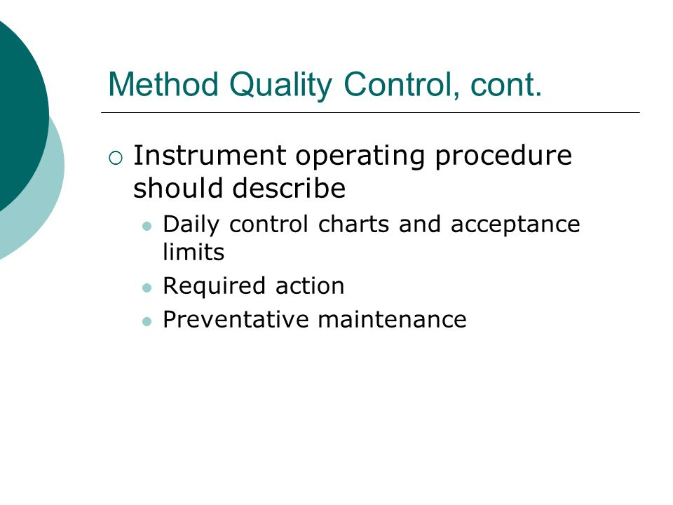 Method Quality Control, cont.