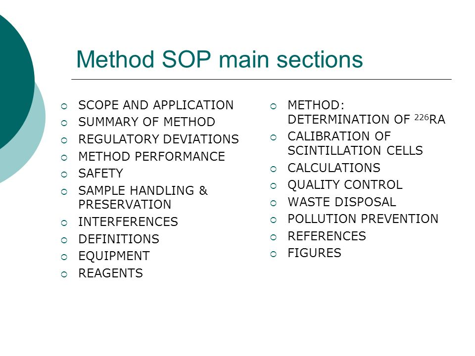 Method SOP main sections