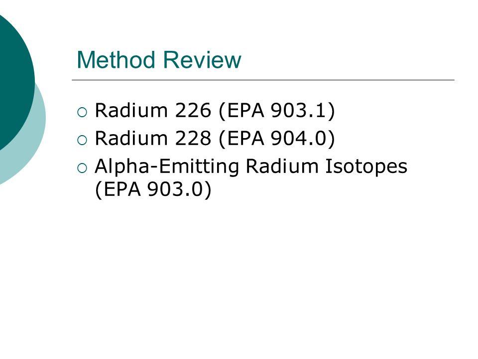 Method Review Radium 226 (EPA 903.1) Radium 228 (EPA 904.0)