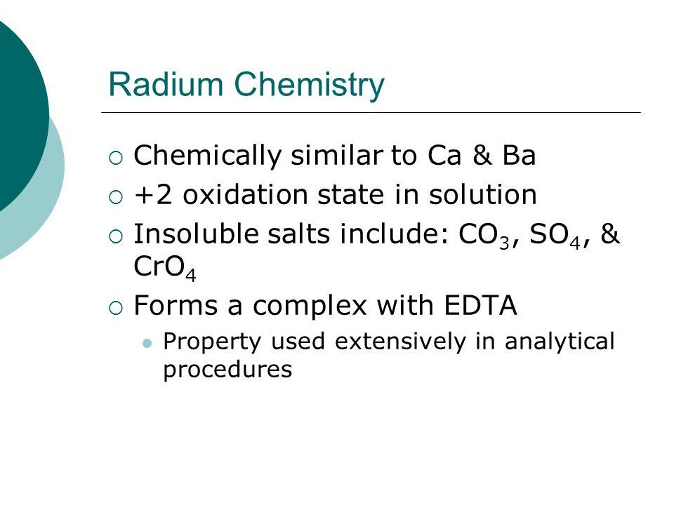 Radium Chemistry Chemically similar to Ca & Ba