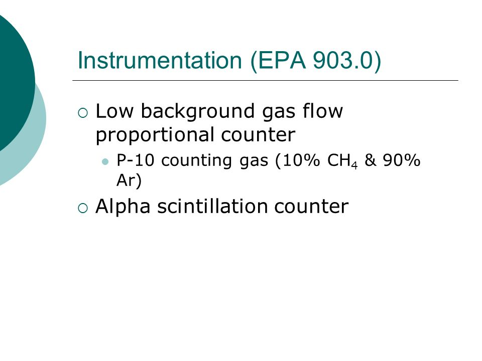 Instrumentation (EPA 903.0)