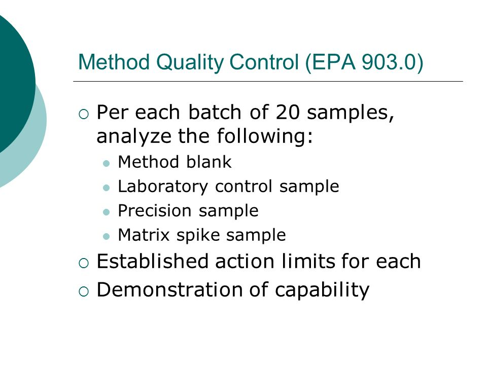 Method Quality Control (EPA 903.0)