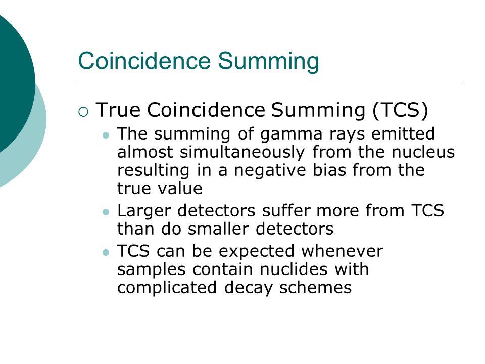Coincidence Summing True Coincidence Summing (TCS)