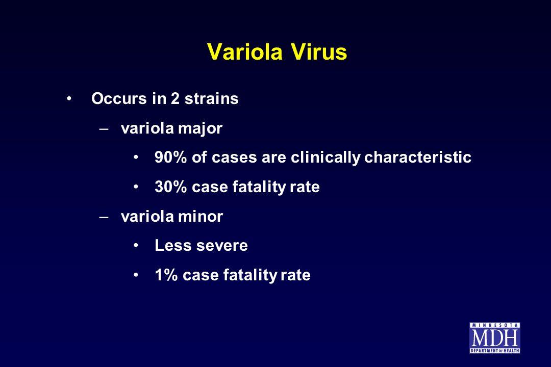 Variola Virus Occurs in 2 strains variola major