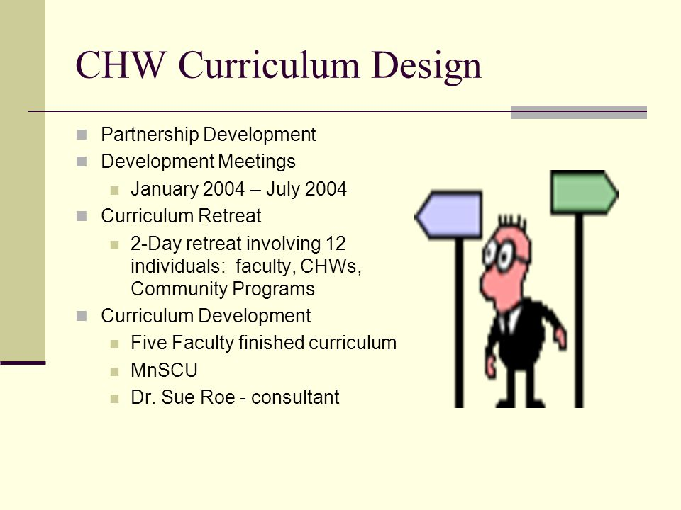 CHW Curriculum Design Partnership Development Development Meetings