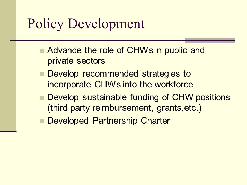 Policy Development Advance the role of CHWs in public and private sectors. Develop recommended strategies to incorporate CHWs into the workforce.