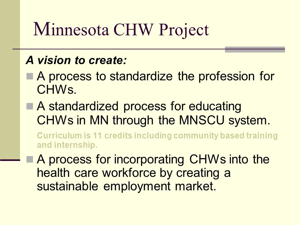 Minnesota CHW Project A vision to create: A process to standardize the profession for CHWs.