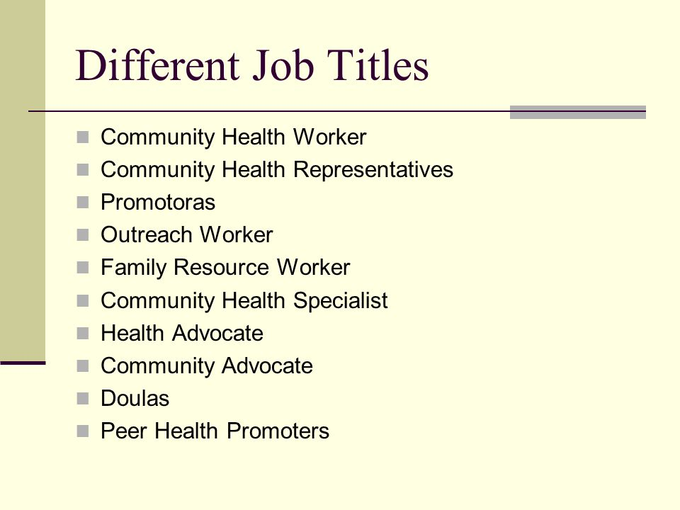 Different Job Titles Community Health Worker