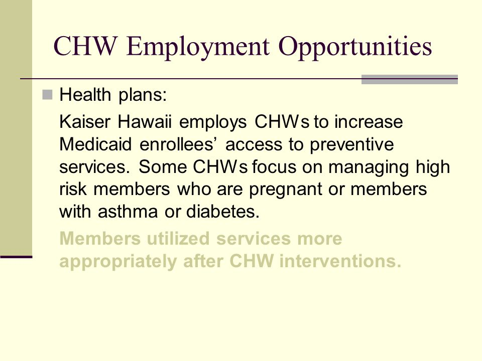 CHW Employment Opportunities