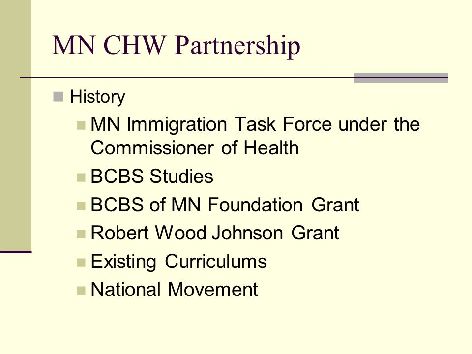 MN CHW Partnership History. MN Immigration Task Force under the Commissioner of Health. BCBS Studies.