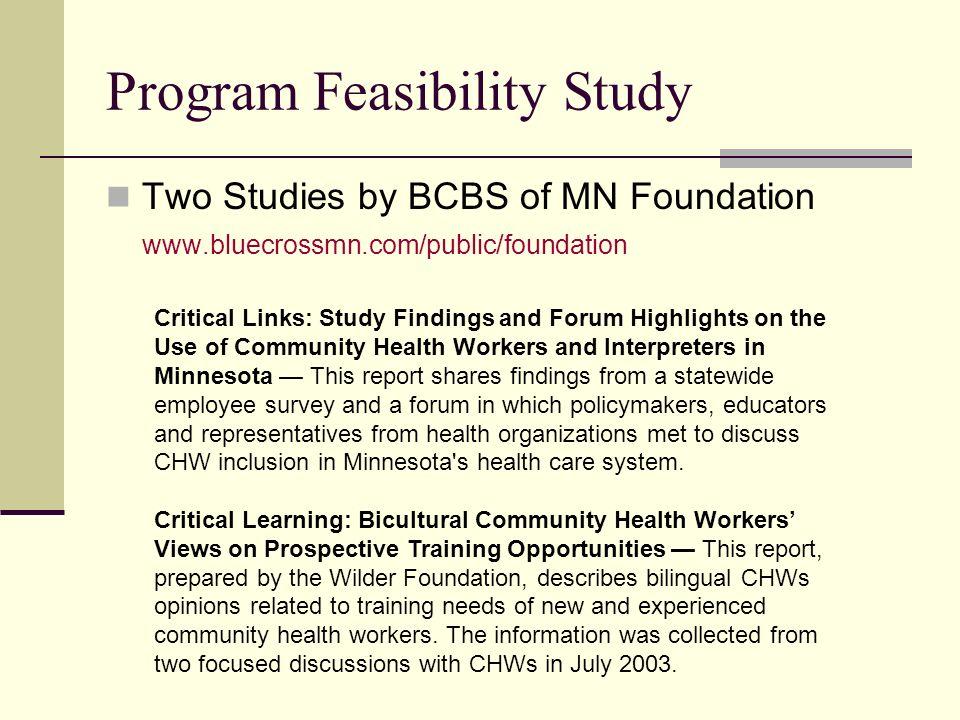 Program Feasibility Study