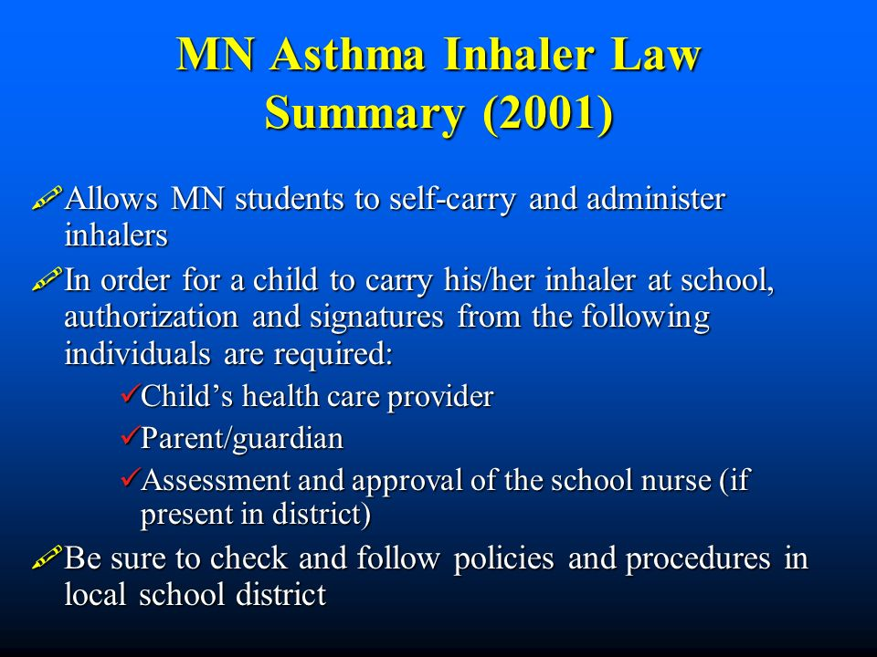 MN Asthma Inhaler Law Summary (2001)