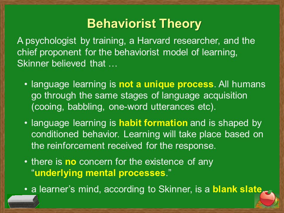 any behaviourism skinner We ring the bell (ding-dong), but we don't show any food  for example,  leading behaviourist bf skinner used reinforcement techniques to teach  pigeons to.