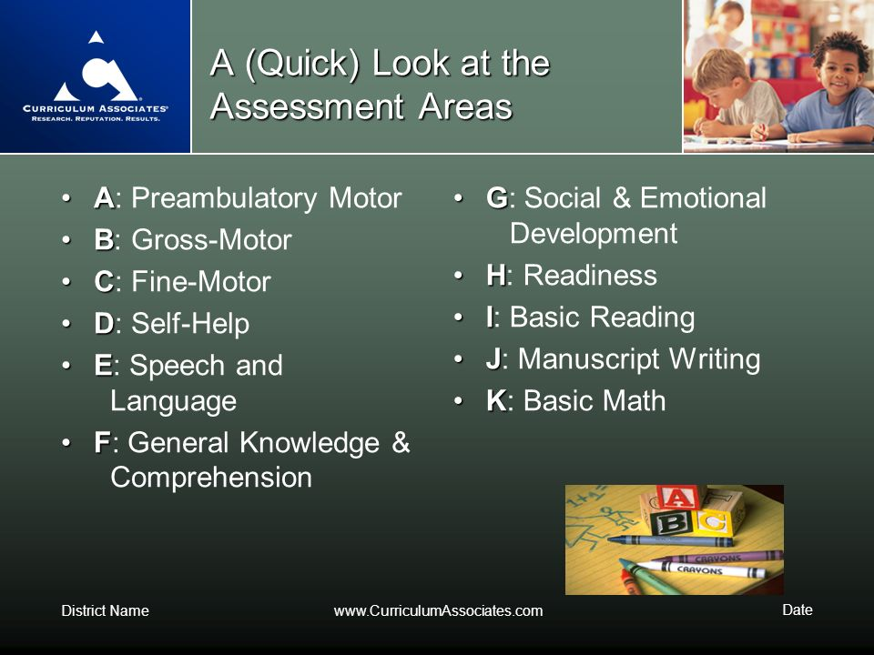 A (Quick) Look at the Assessment Areas