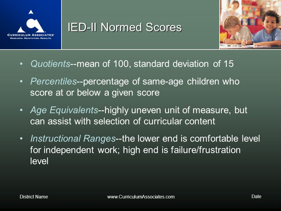 IED-II Normed Scores Quotients--mean of 100, standard deviation of 15