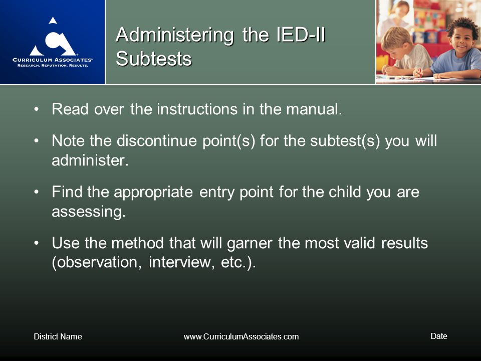 Administering the IED-II Subtests