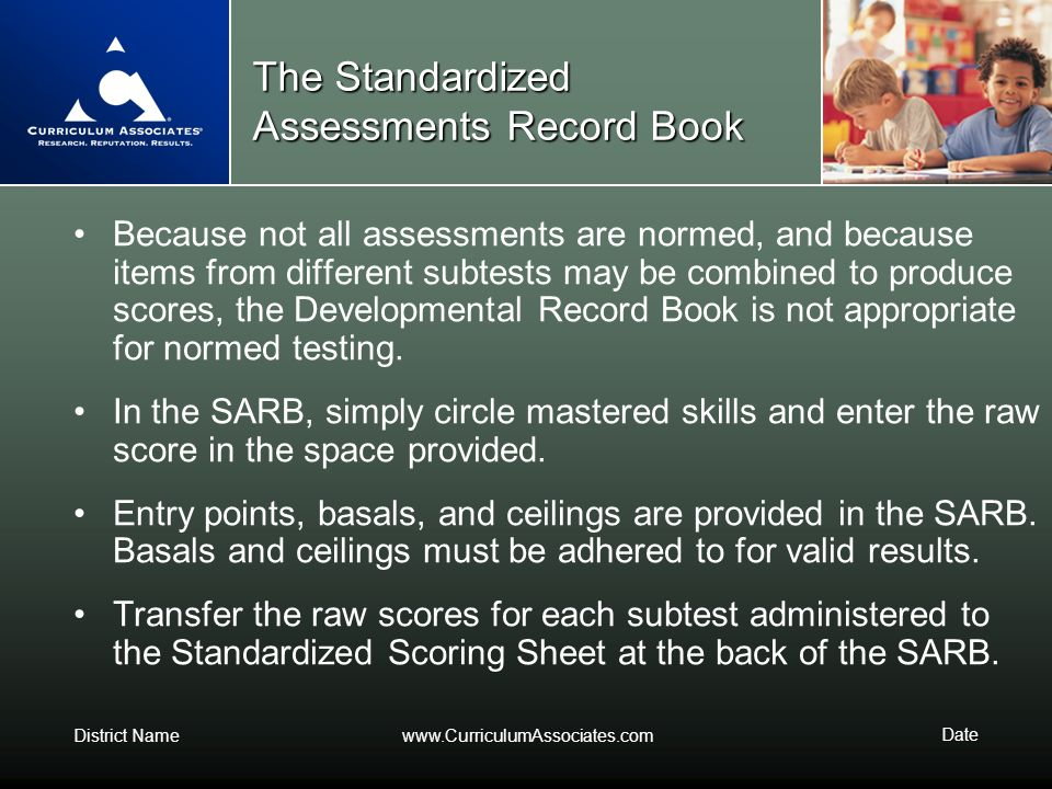 The Standardized Assessments Record Book