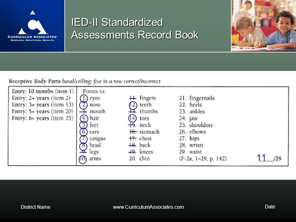 IED-II Standardized Assessments Record Book