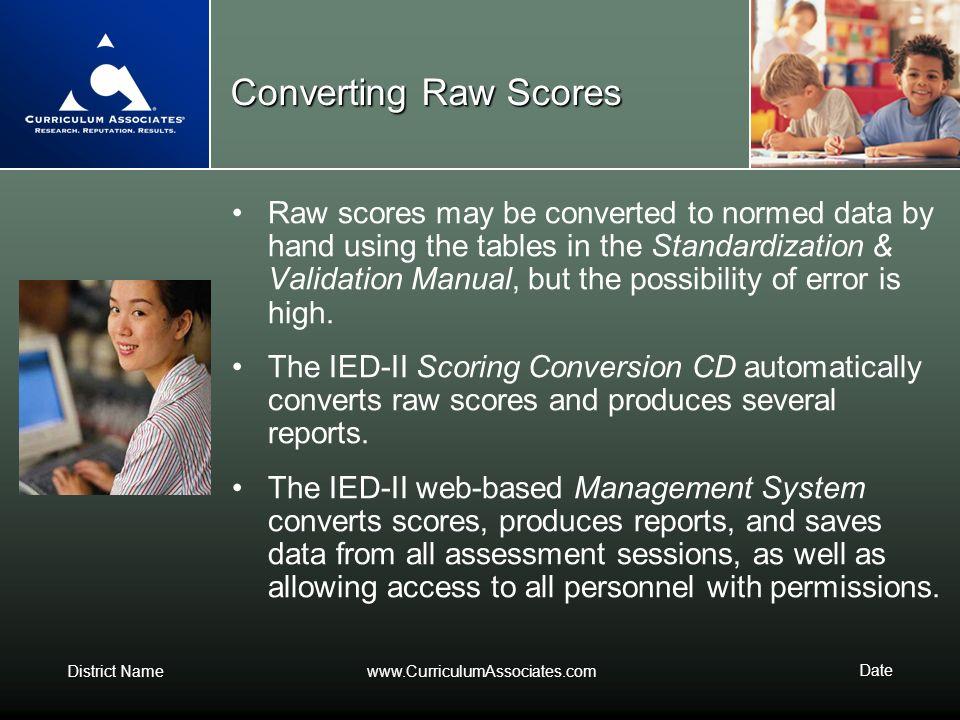 Converting Raw Scores