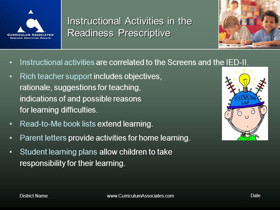 Instructional Activities in the Readiness Prescriptive