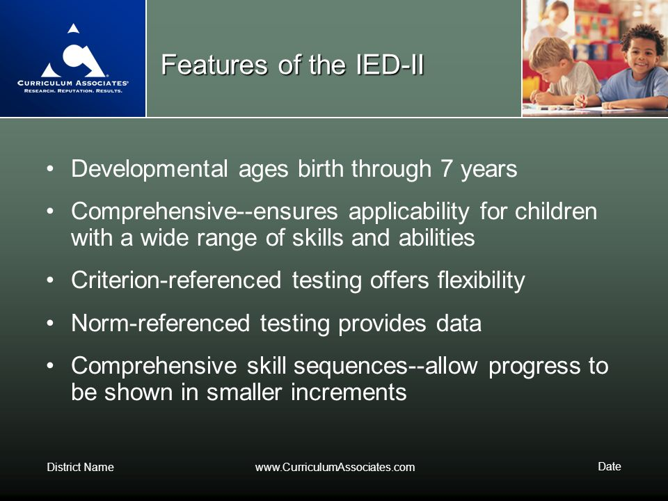 Features of the IED-II Developmental ages birth through 7 years