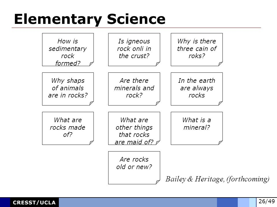 Elementary Science Bailey & Heritage, (forthcoming)