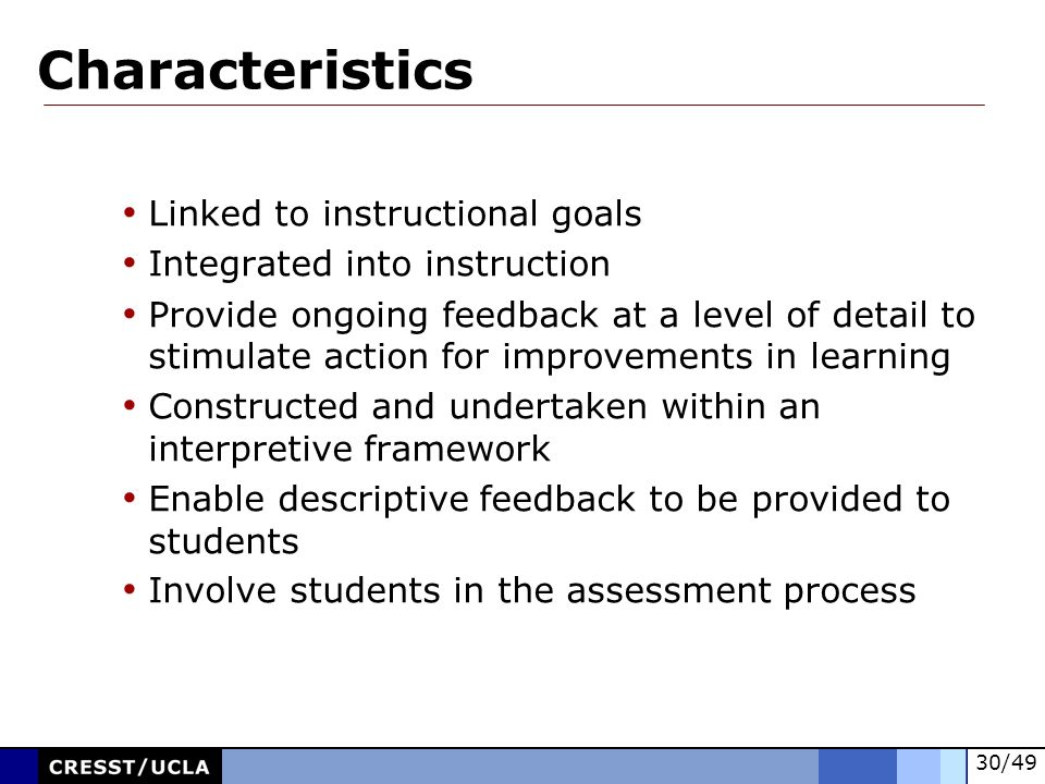 Characteristics Linked to instructional goals