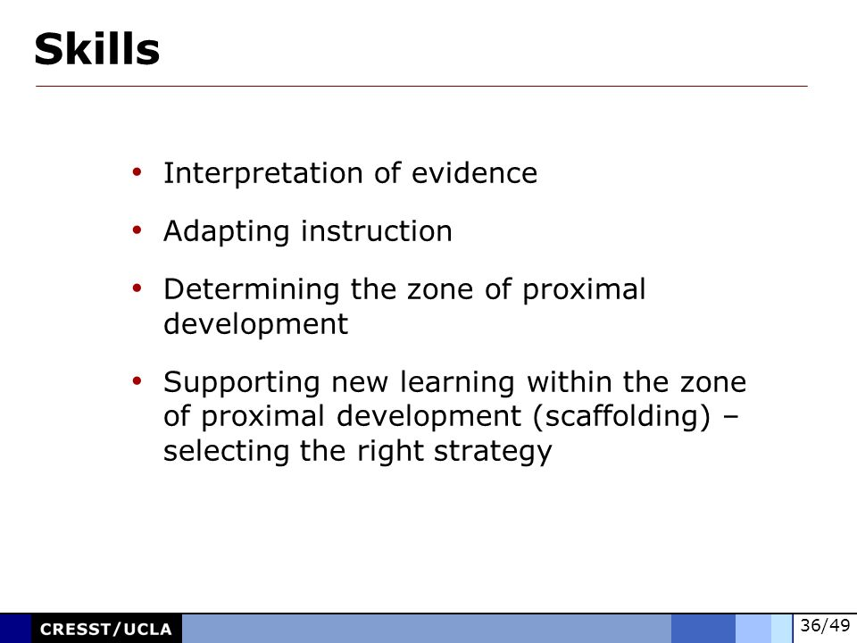 Skills Interpretation of evidence Adapting instruction
