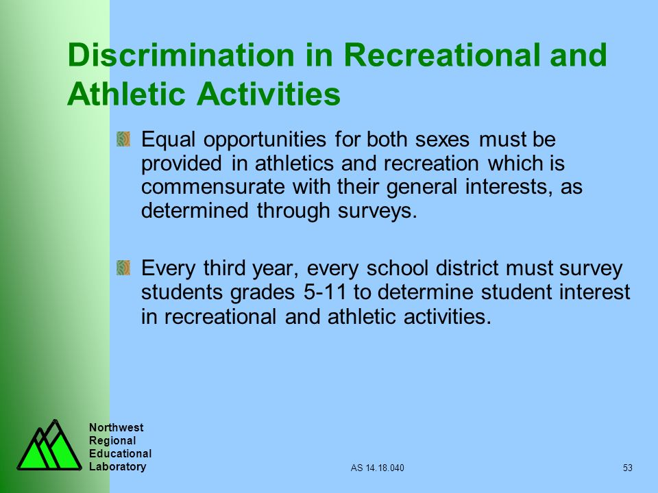 Discrimination in Recreational and Athletic Activities