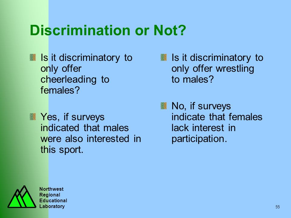 Discrimination or Not Is it discriminatory to only offer cheerleading to females