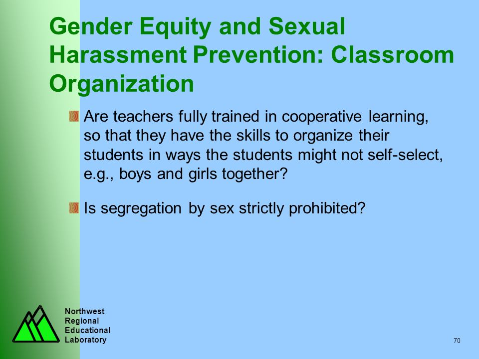 Gender Equity and Sexual Harassment Prevention: Classroom Organization