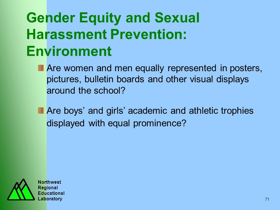 Gender Equity and Sexual Harassment Prevention: Environment